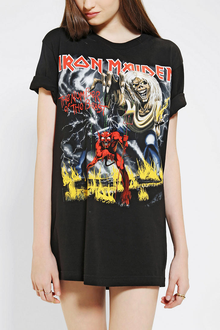 Lyst Urban Outfitters Iron Maiden Tee In Black