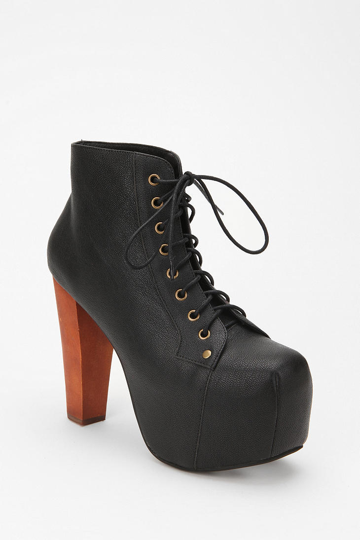 jeffrey campbell leather lita boot in black lyst. Black Bedroom Furniture Sets. Home Design Ideas