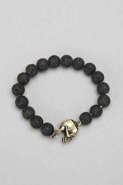 outfitters lava bead skull bracelet in black for