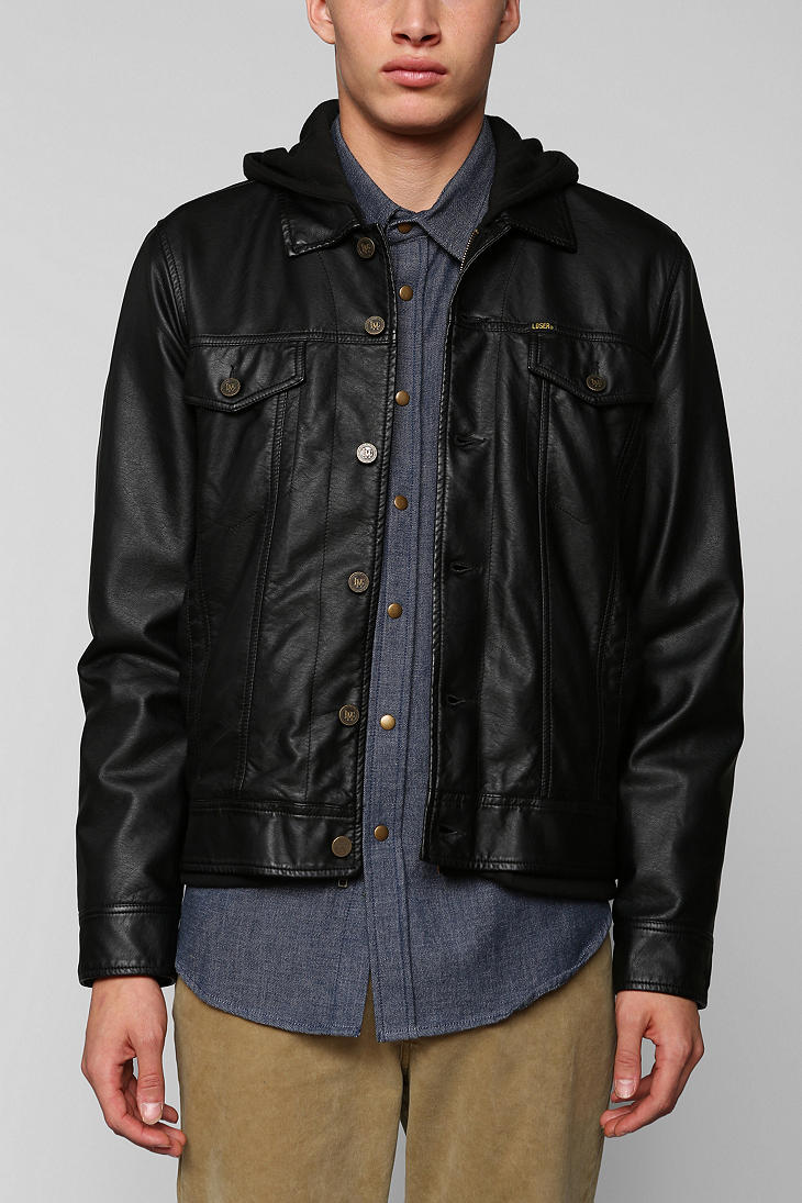 Urban Outfitters Loser Machine Lawson Vegan Leather Hooded