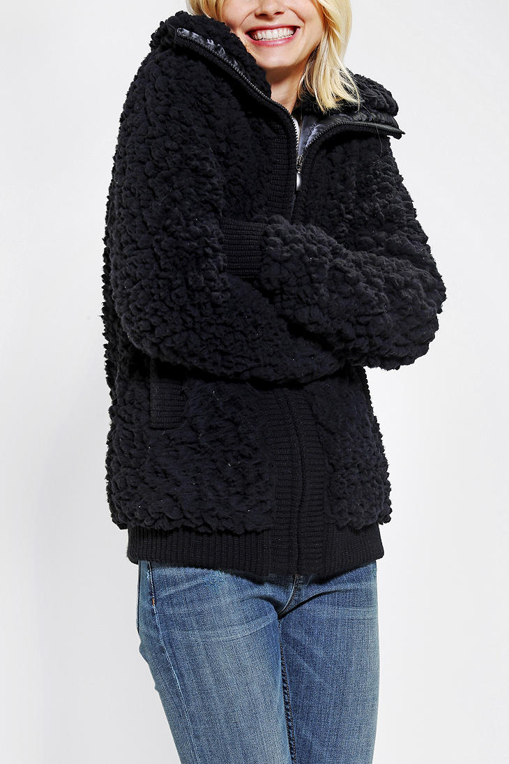 Urban outfitters Pins and Needles Teddy Bomber Jacket in Black | Lyst
