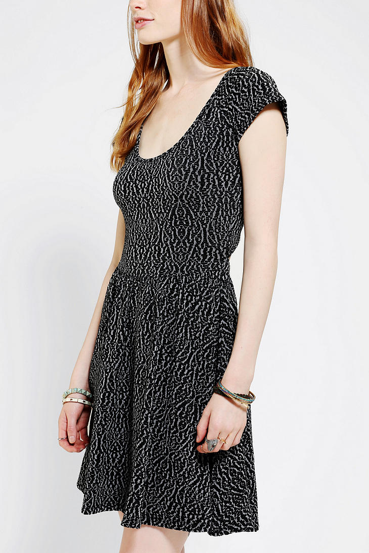 Urban Outfitters Sparkle Fade Wrap Back Skater Dress In