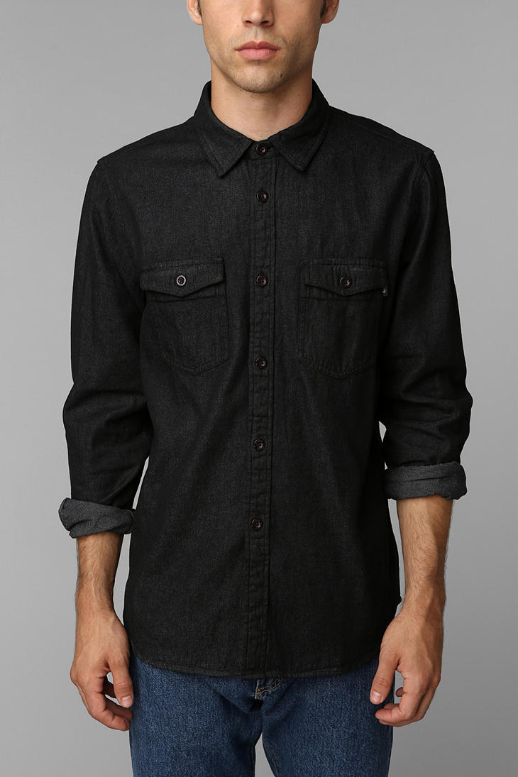 Urban outfitters Stussy Classic Denim Buttondown Shirt in Black ...