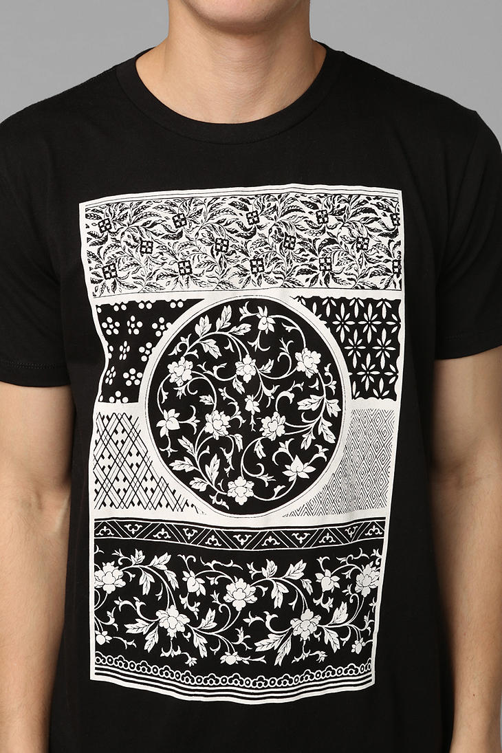 urban outfitters wallpaper tee in black for men lyst. Black Bedroom Furniture Sets. Home Design Ideas