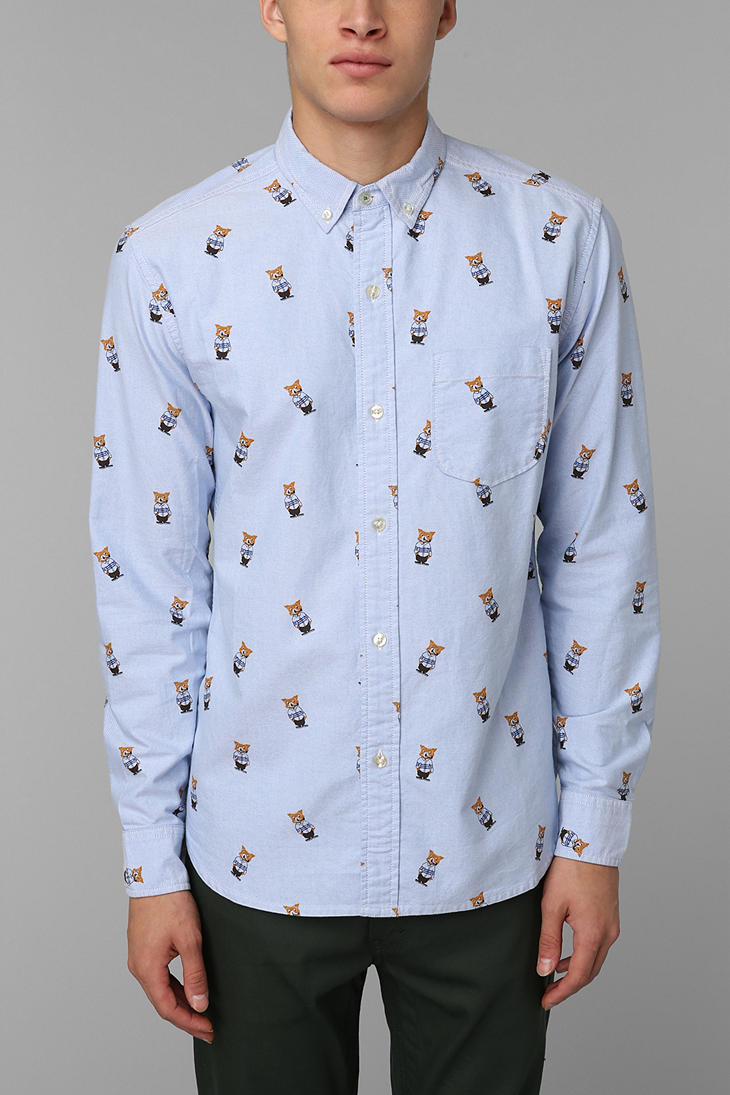 Urban outfitters Hawkings Mcgill Printed Buttondown Oxford Shirt ...