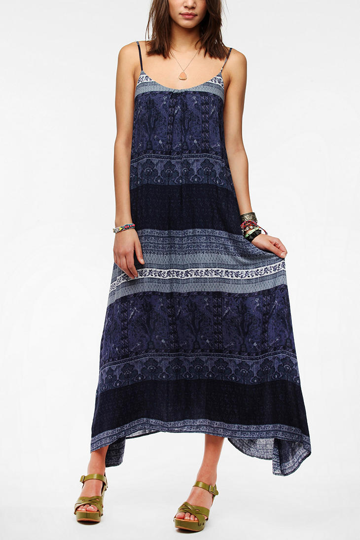 Urban outfitters Ecote Printed Tieback Maxi Dress in Blue   Lyst