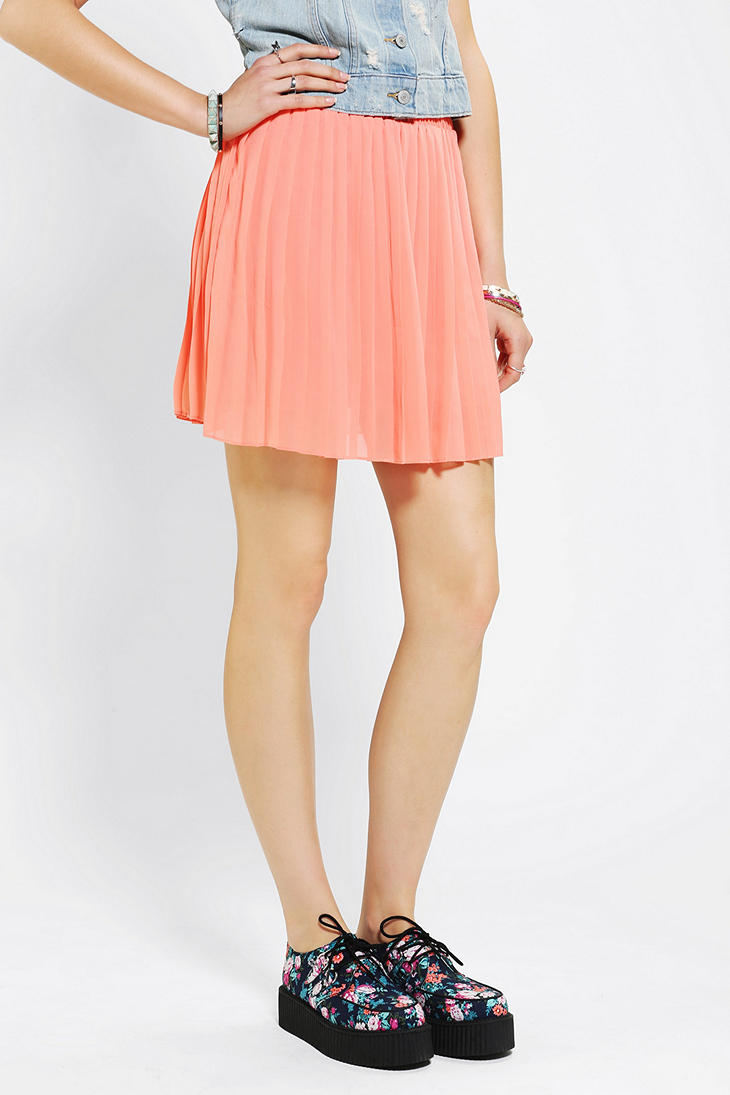 Urban outfitters Sparkle Fade Pleated Chiffon Mini Skirt ...