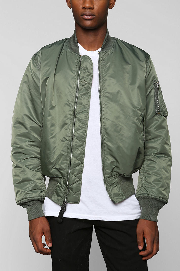 lyst urban outfitters alpha industries ma1 bomber jacket in green for men. Black Bedroom Furniture Sets. Home Design Ideas