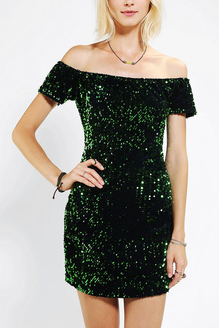 urban outfitters green motel debbie offtheshoulder sequin dress product 1 13933514 043430014