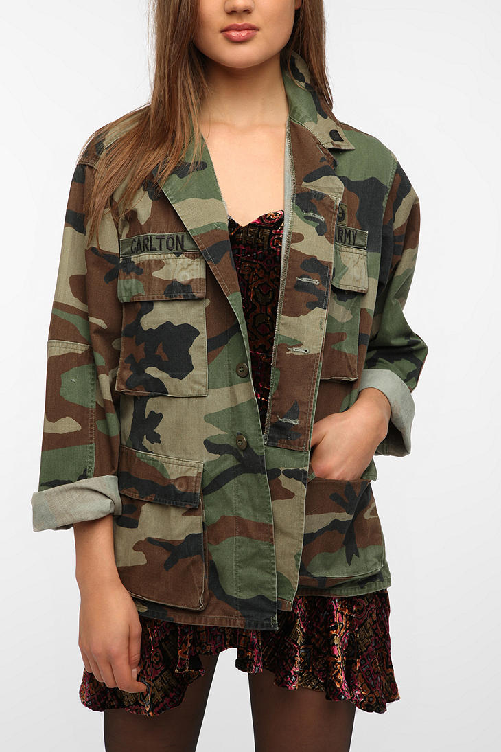 Urban Outfitters Oversized Camo Jacket In Multicolor
