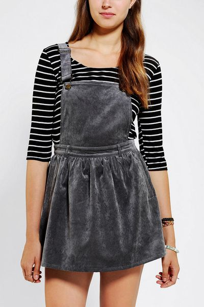 urban outfitters coincidence chance baby corduroy overall skirt in gray  grey