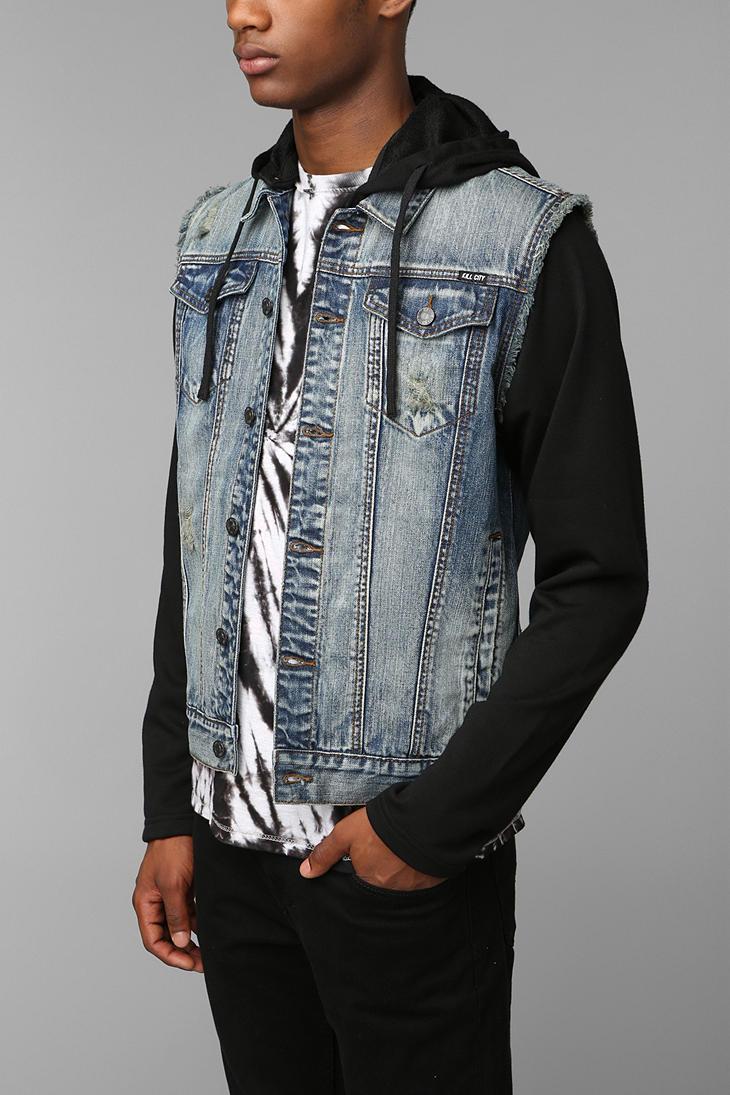 Urban outfitters Kc By Kill City Fleece Sleeve Denim Jacket in ...