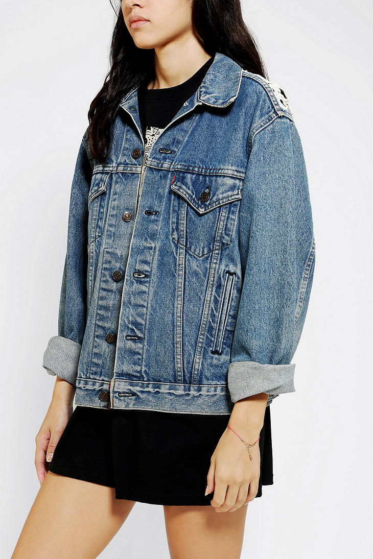 Urban Outfitters Urban Renewal Crochet Back Denim Jacket
