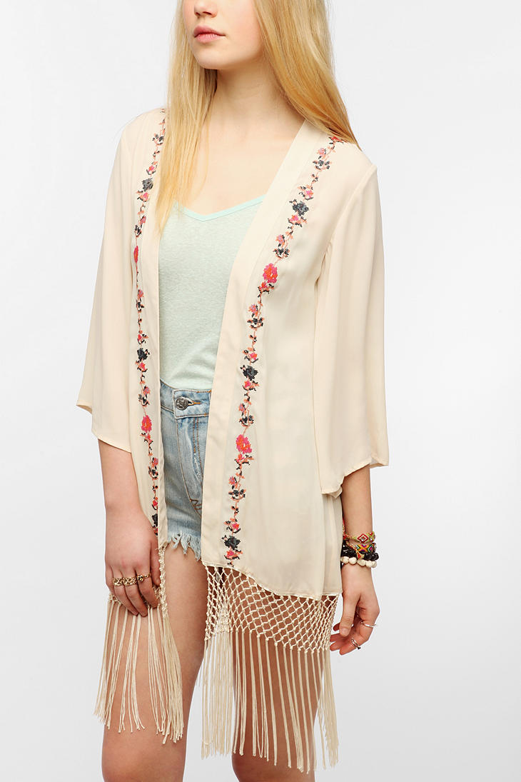 Urban Outfitters Staring At Stars Embroidered Silky Fringe