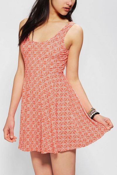 Urban Outfitters Ecote Boho Print Knit Skater Dress in Orange   Lyst