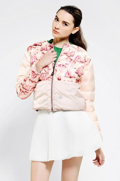 Urban outfitters adidas x opening ceremony quilted bomber for Adidas floral shirt urban outfitters