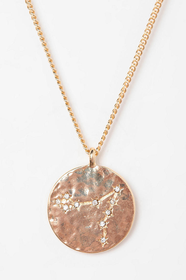 Lyst Urban Outfitters Rhinestone Zodiac Necklace In Pink