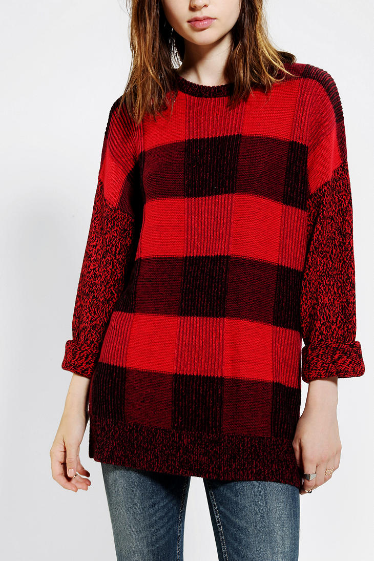 Urban Outfitters Bdg Buffalo Plaid Tunic Sweater In Red Lyst