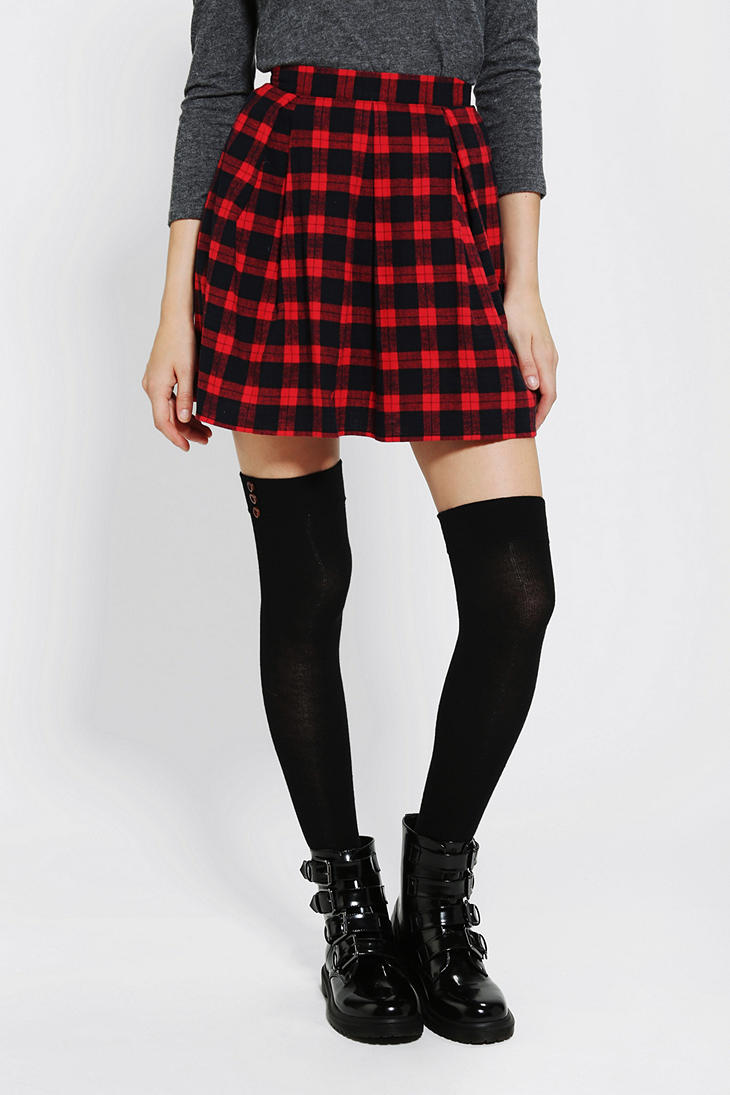 Urban outfitters Coincidence Chance Pleated Plaid Skirt in Red   Lyst