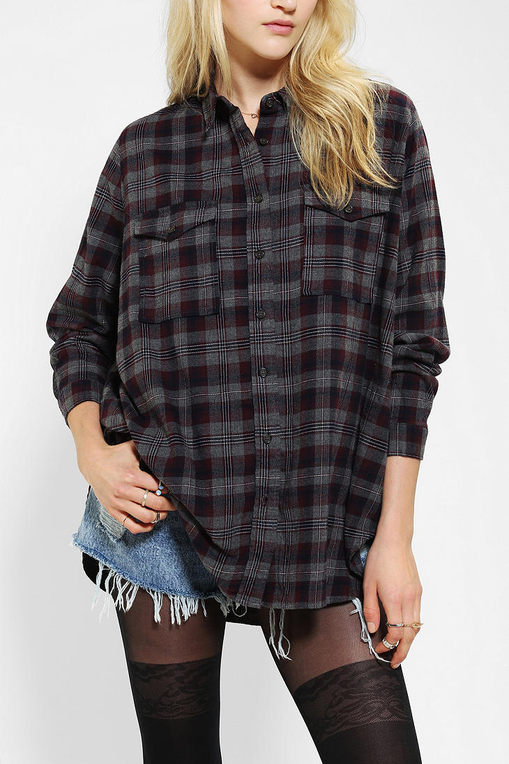 Urban Outfitters Silence Noise Oversized Flannel Shirt In
