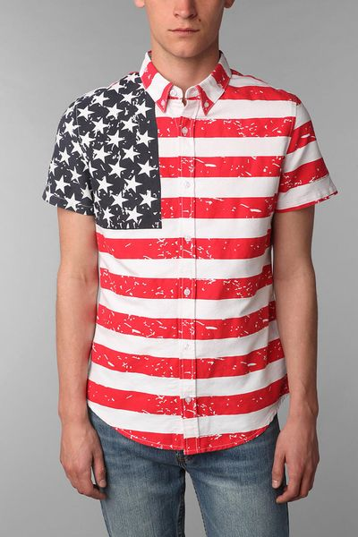 outfitters american flag sleeve shirt in white