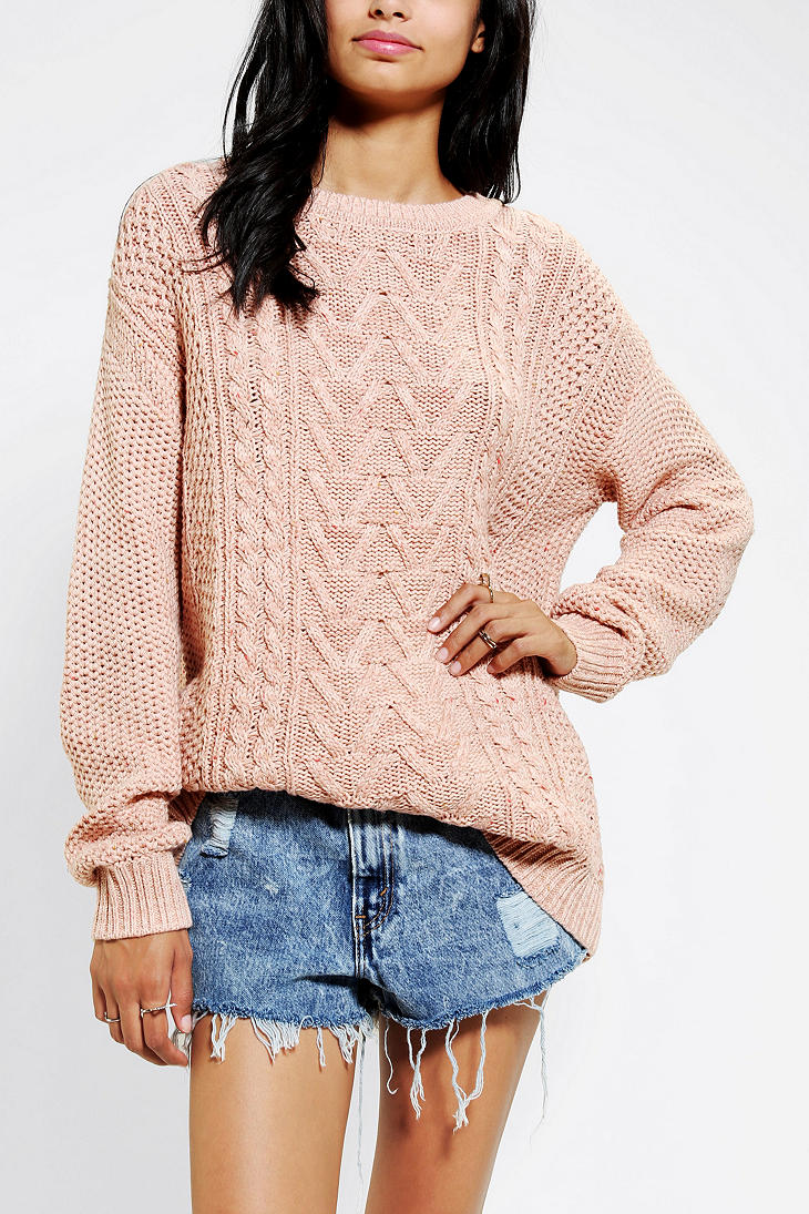 Urban outfitters Bdg Fall For Cable-Knit Sweater in Pink | Lyst