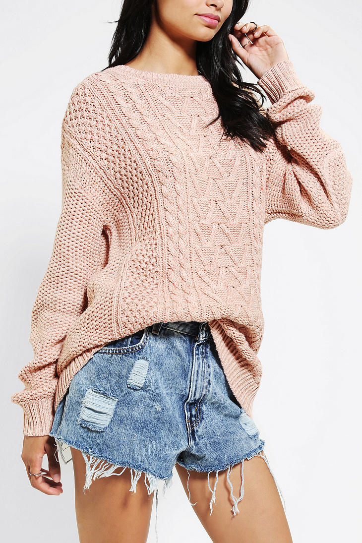 Urban Outfitters Bdg Fall For Cable Knit Sweater In Rose