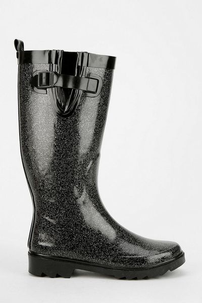 Urban Outfitters Capelli Glitter Rain Boot In Black