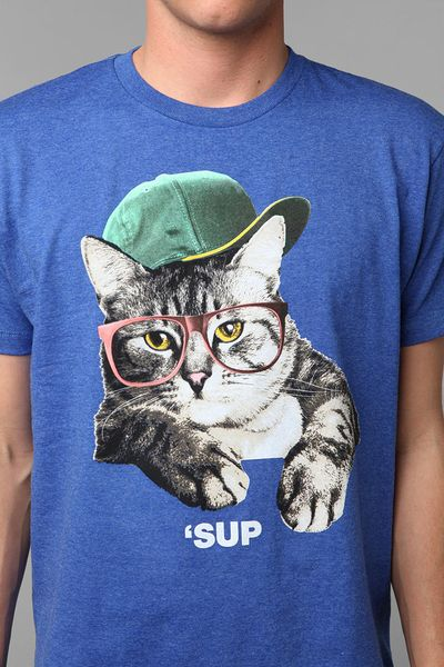 Urban outfitters sup cat tee in blue for men sky lyst for Lucky cat shirt urban outfitters