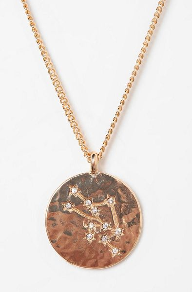 Urban Outfitters Rhinestone Zodiac Necklace in Gold (TAURUS) | Lyst