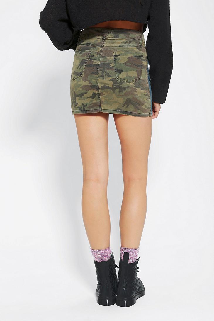 fcbddd56a78 Urban Outfitters Tripp NYC Denim Camo Mini Skirt in Blue - Lyst