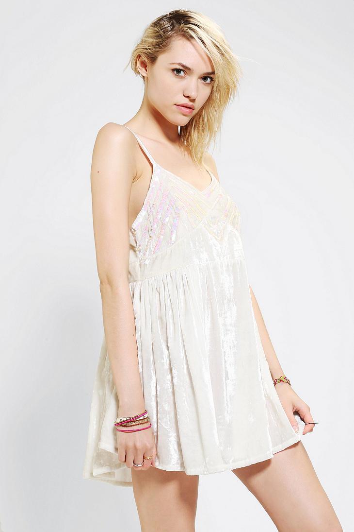 Lyst Urban Outfitters Velvet Babydoll Dress In White