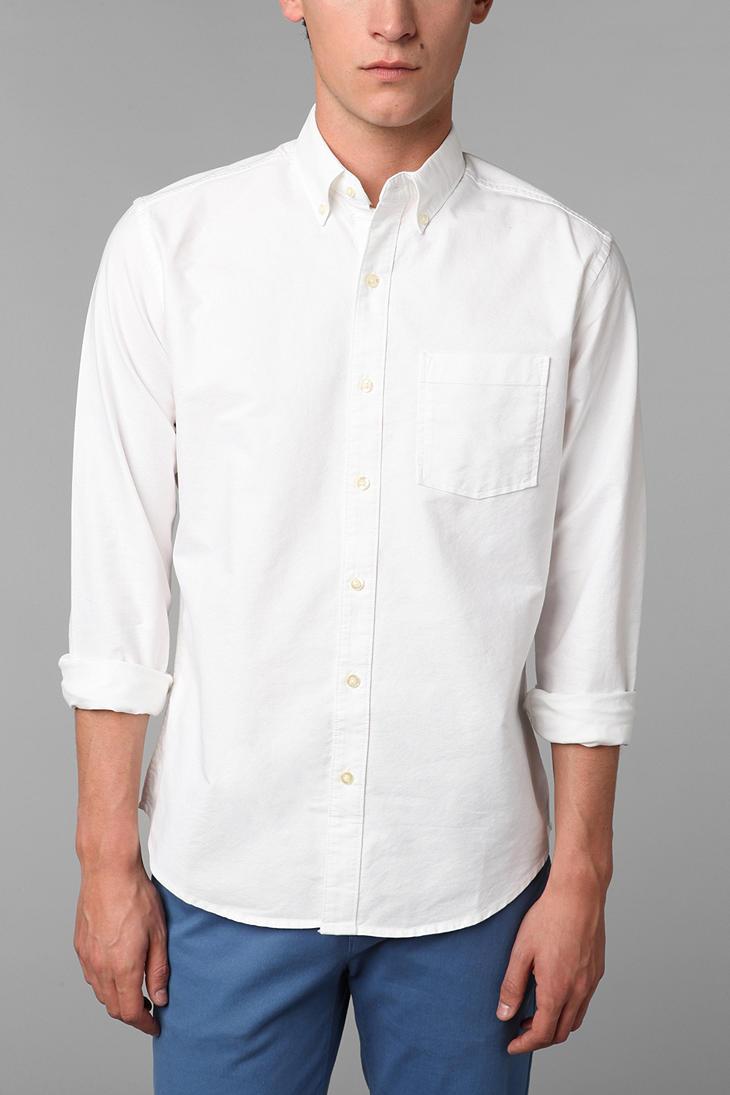 mens white oxford button down shirt is shirt
