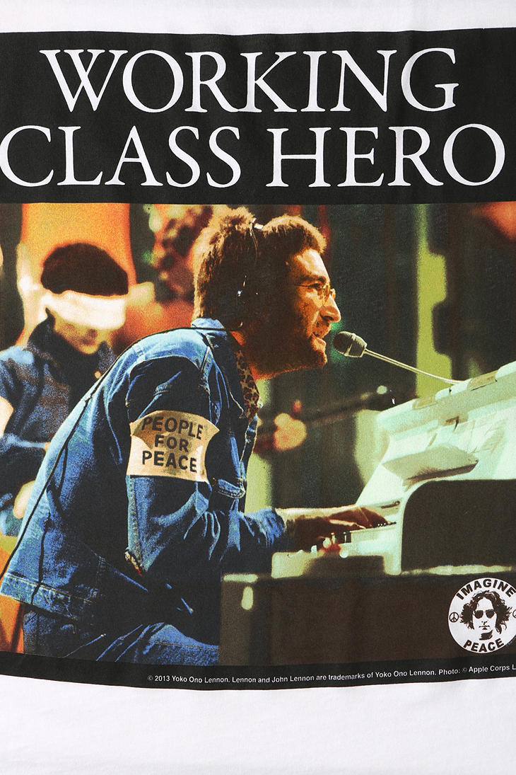 Urban Outfitters Lennon Working Class Hero Tee In White
