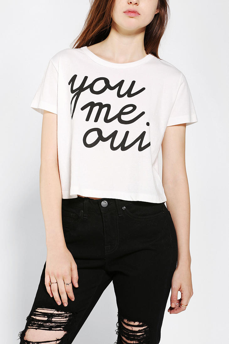 Urban outfitters Silence Noise You Me Oui Cropped Tee in White | Lyst