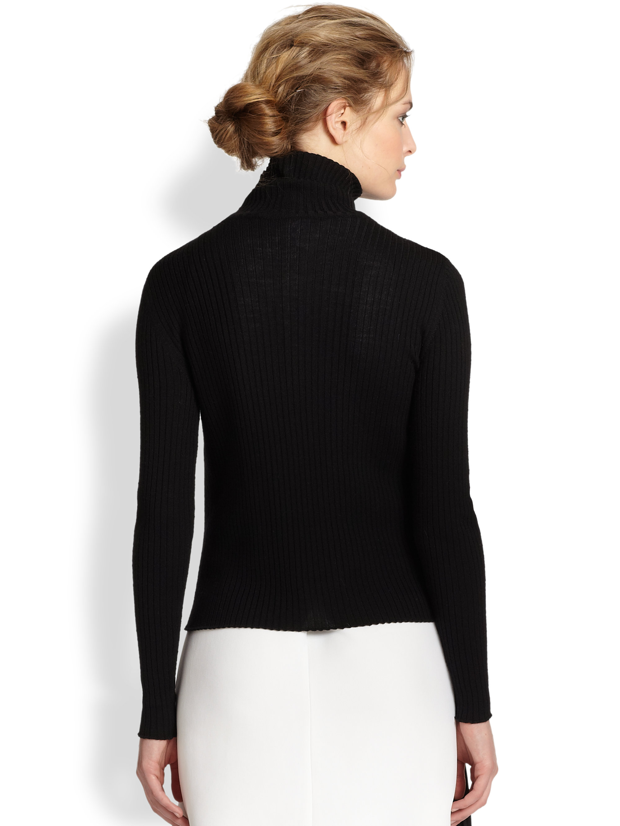 Vanessa bruno Ribbed Merino Wool Turtleneck Sweater in Black | Lyst
