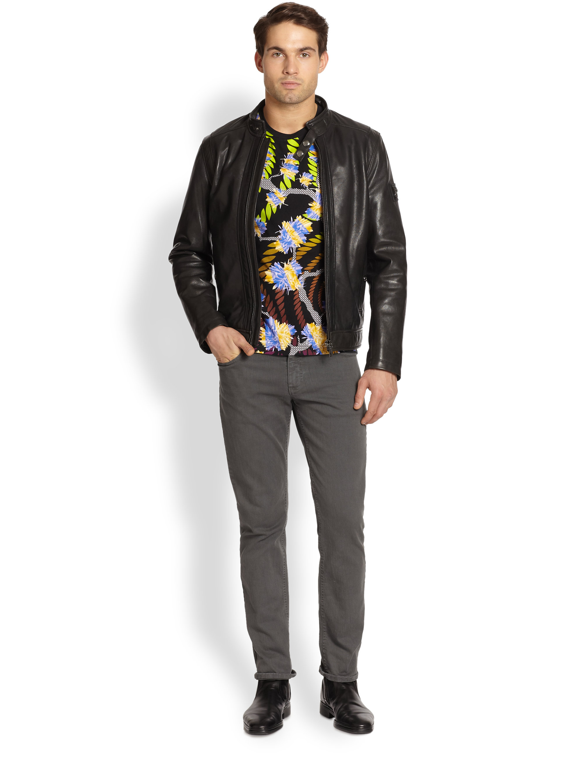 Versace Jeans Leather Jacket in Black for Men - Lyst