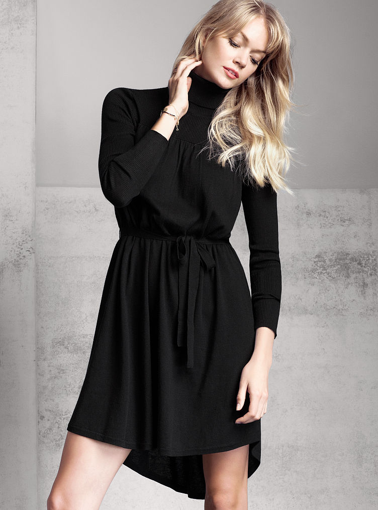 Knitting Pattern Turtleneck Dress : Victorias Secret Knit Turtleneck Dress in Black Lyst