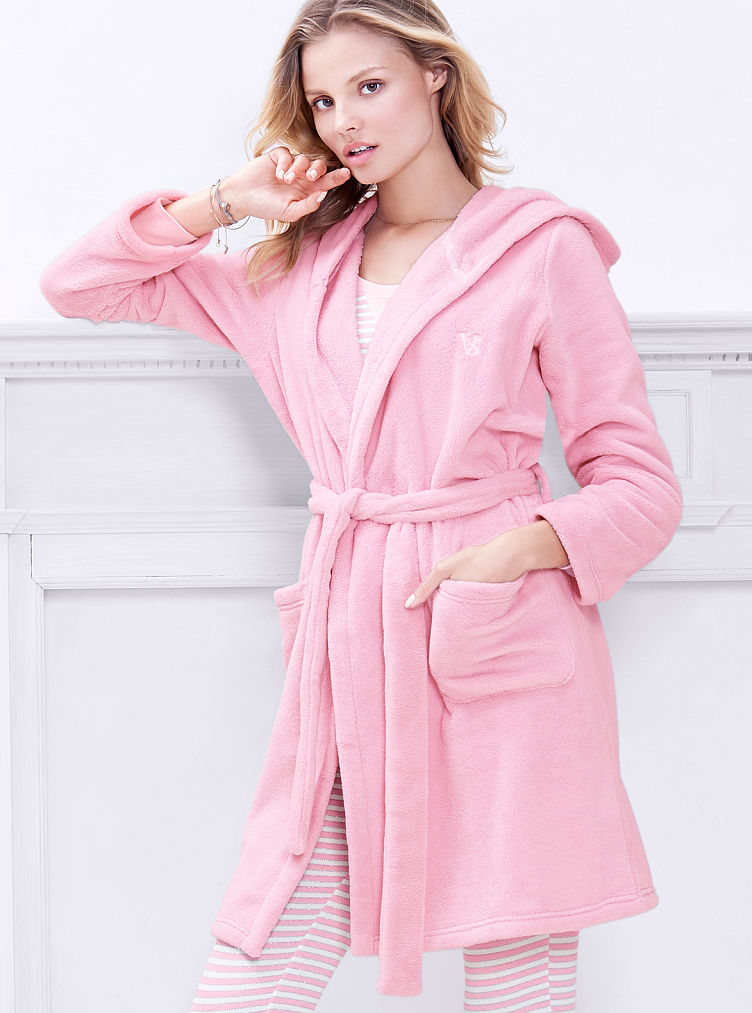 Victoria's secret pink floral satin sheen poly. I have a black hooded victoria secret warm robe that has been barely worn. black rayon silk blend, has a velvet look, on one side.4/4(36).