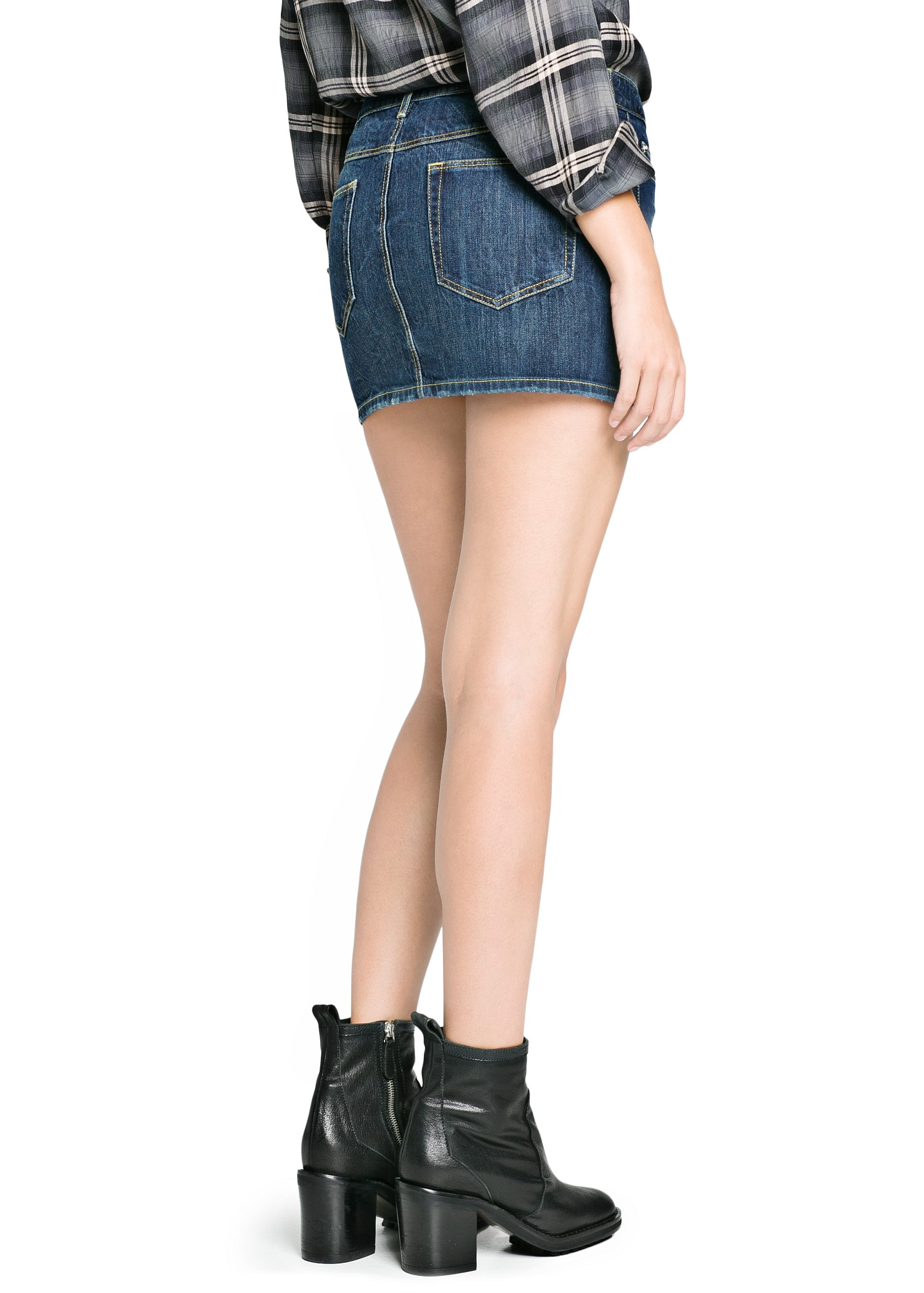 Mango Dark Wash Denim Miniskirt in Blue | Lyst