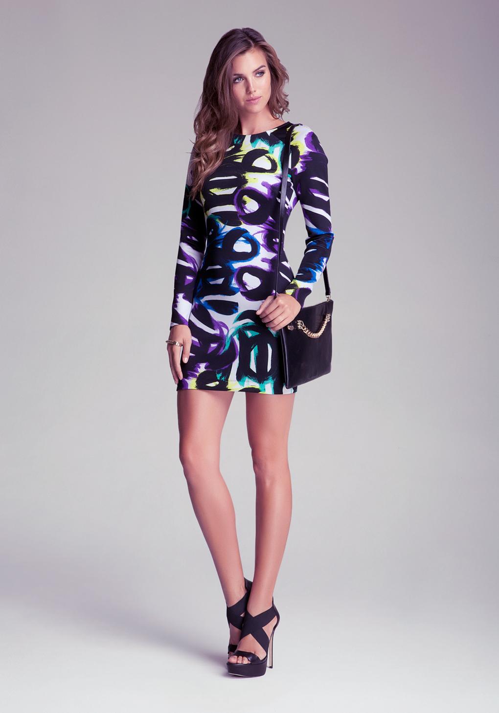 Bebe Scuba Block Party Dress In Purple