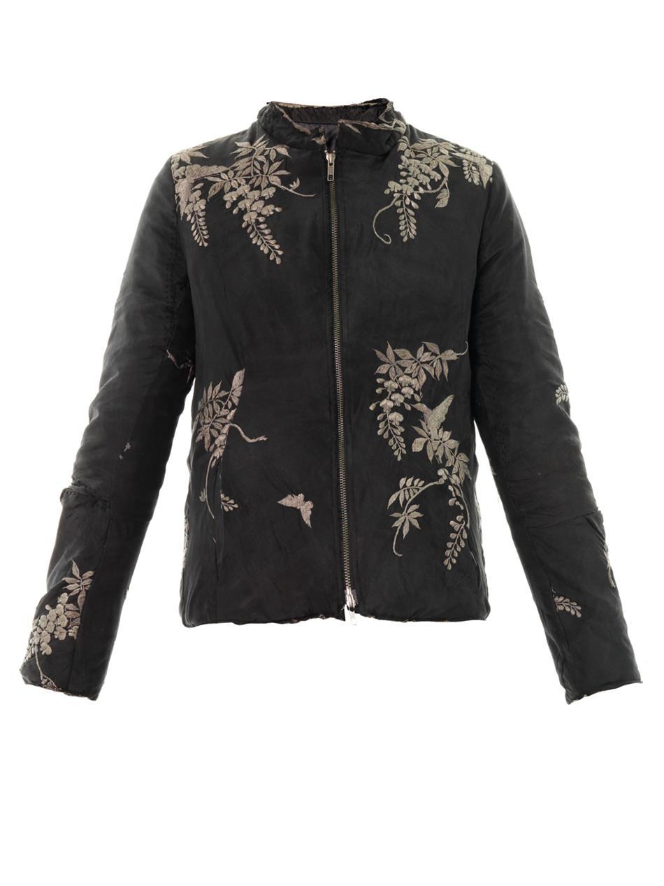 By walid vintage leaf embroidered silk jacket in black lyst