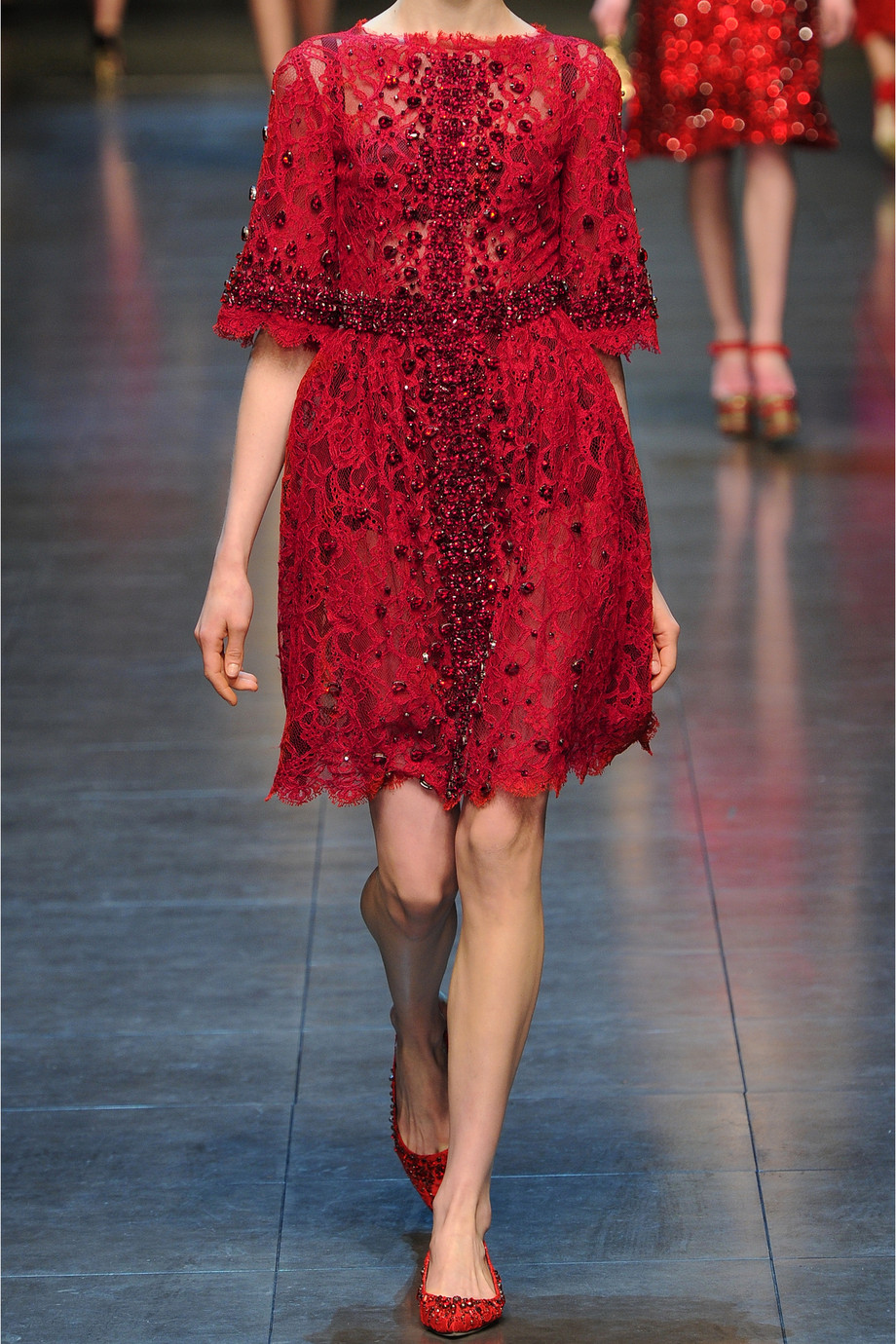 Dolce Amp Gabbana Crystal Embellished Lace Dress In Red Lyst