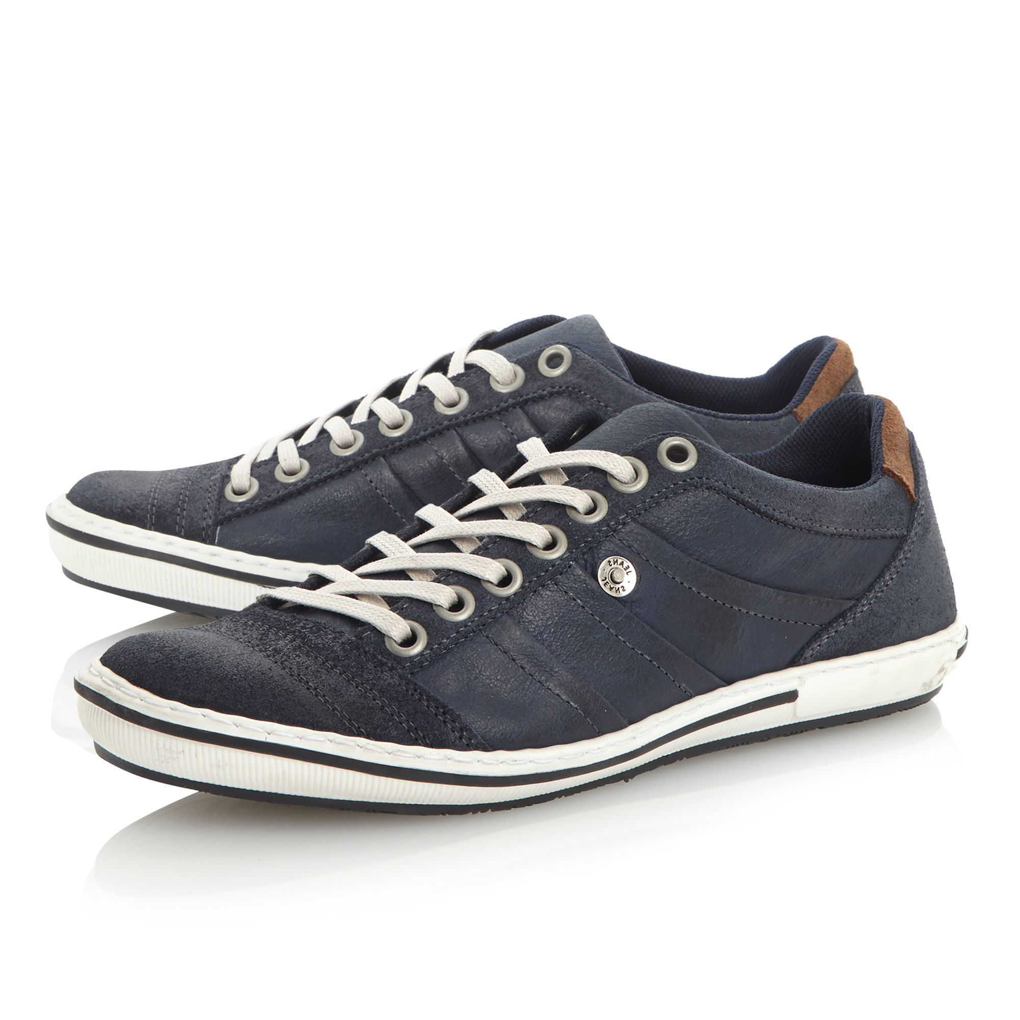Dune Scribble Panel Detail Trainers in Navy (Blue) for Men