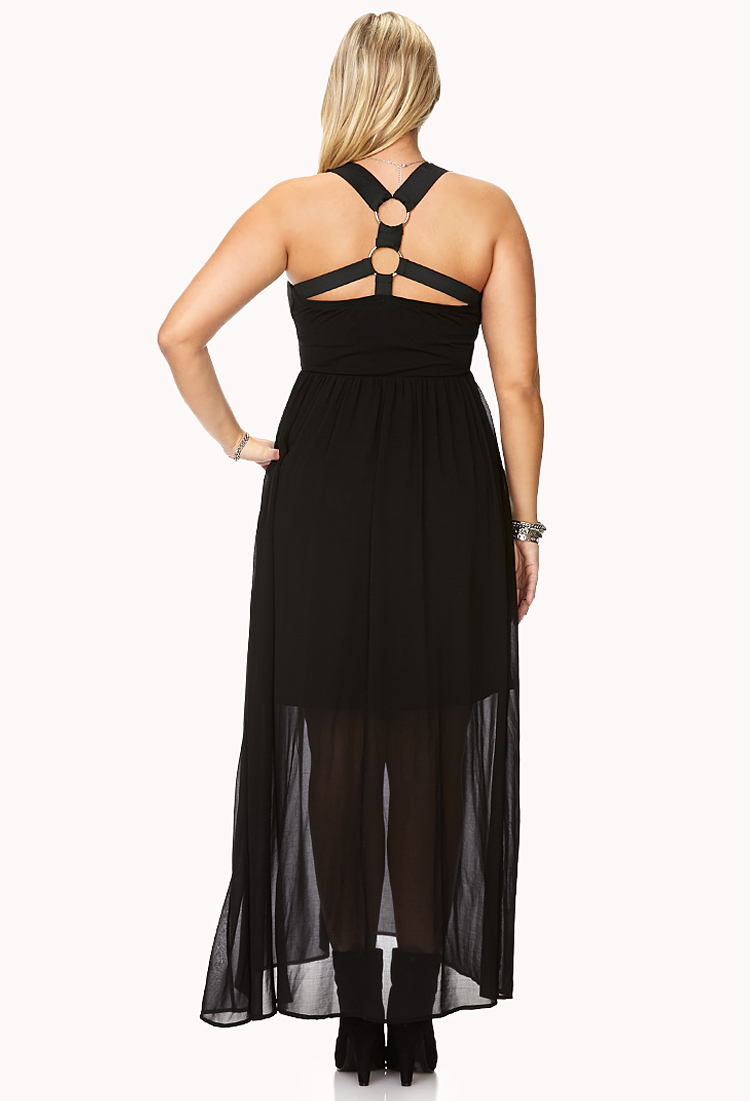 Lyst Forever 21 Edgy Harness Back Maxi Dress In Black