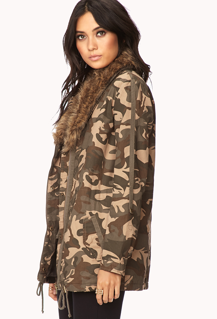 Forever 21 Cotton Camouflage Military Jacket In Tan Olive