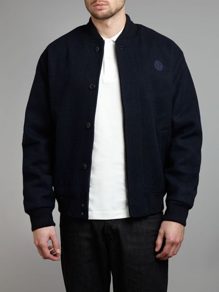 fred perry melton bomber jacket in blue for men navy lyst. Black Bedroom Furniture Sets. Home Design Ideas