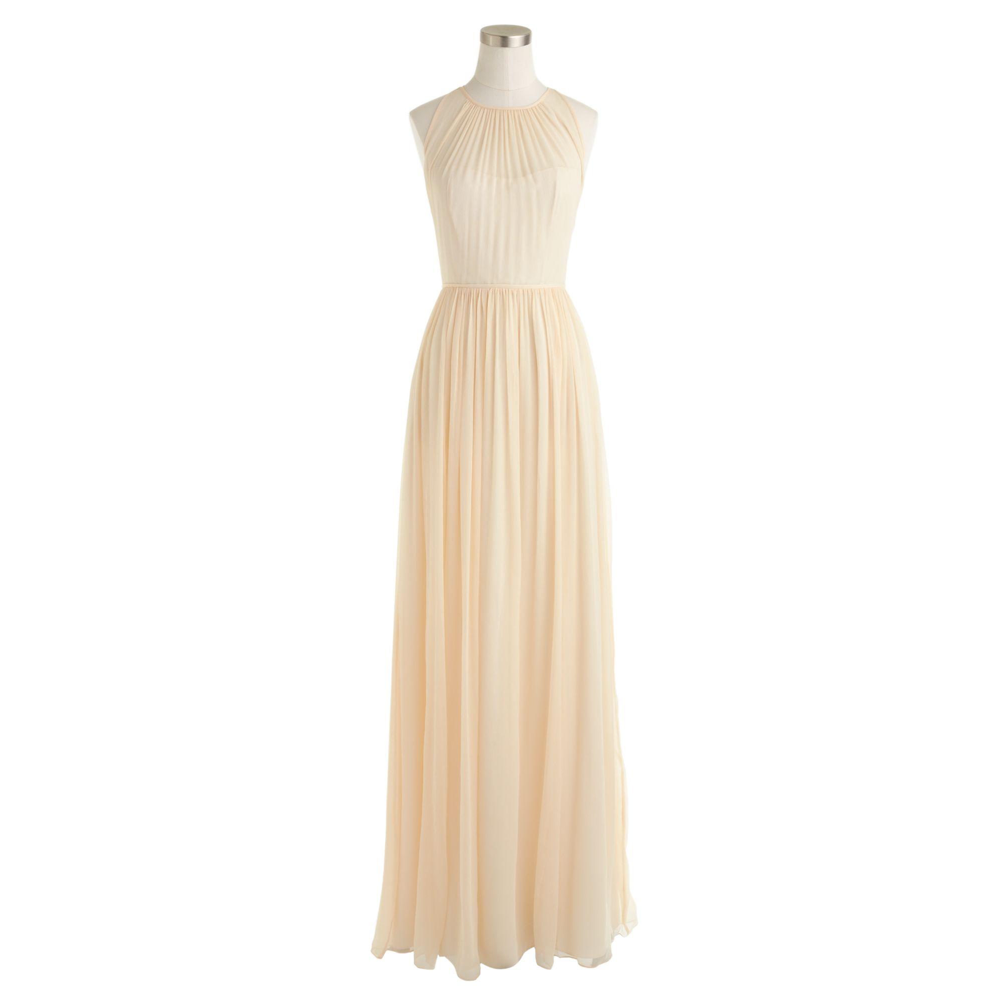 Megan Long Dress In Silk Chiffon In Gold Champagne