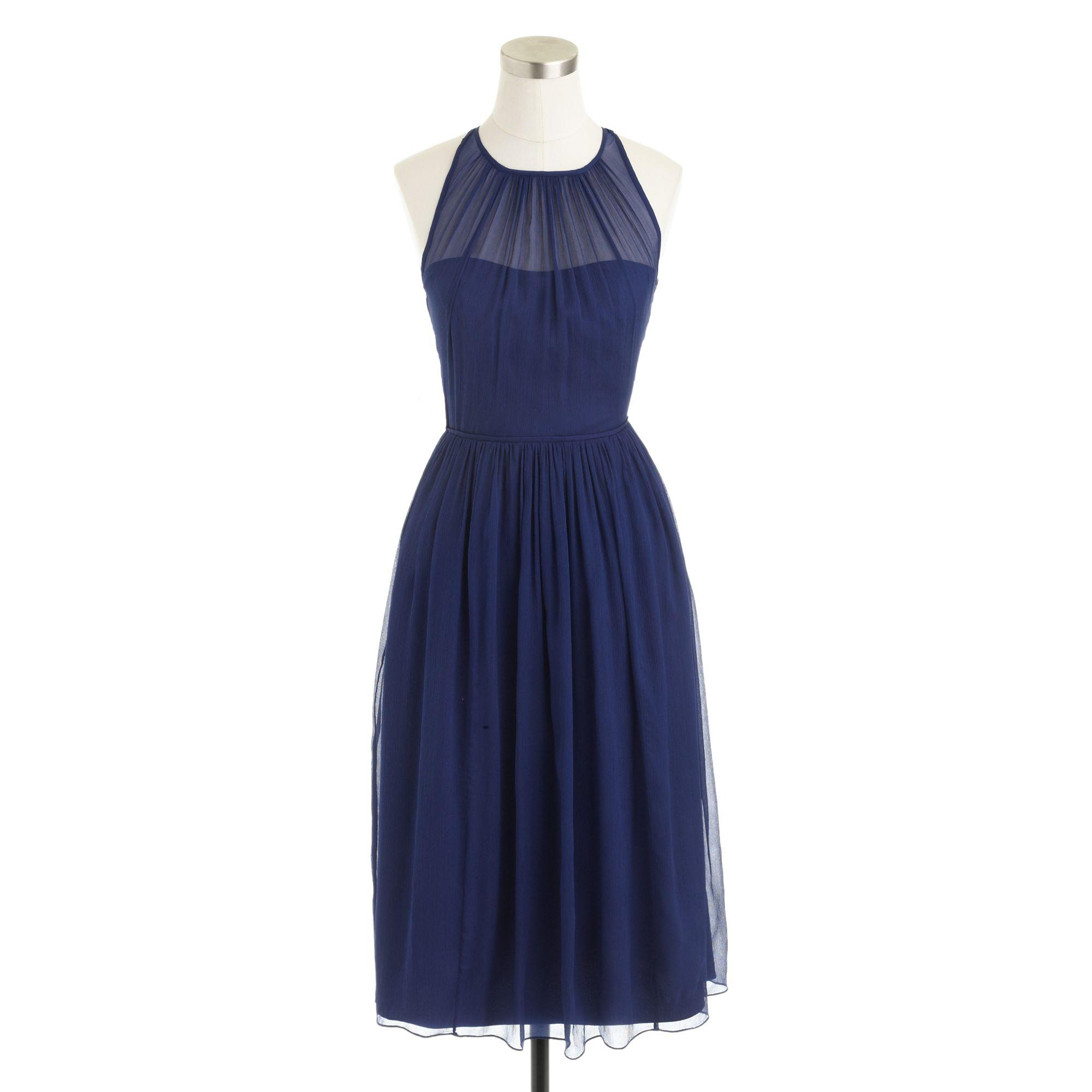 Megan Wedding Dress: J.crew Megan Dress In Silk Chiffon In Blue (dark Cove)