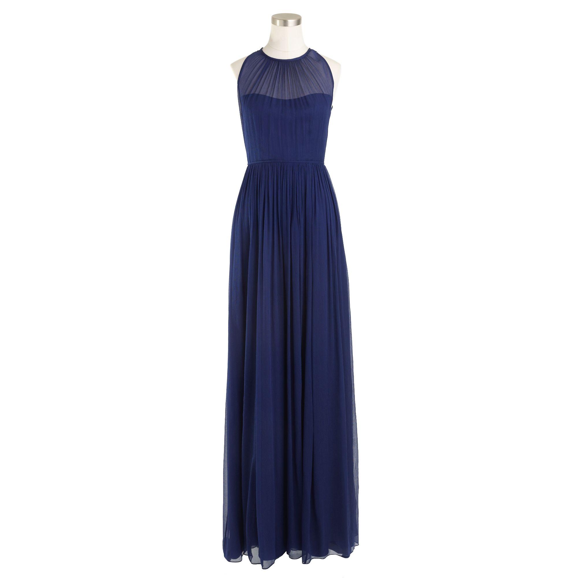 Jcrew Megan Long Dress In Silk Chiffon In Blue Dark Cove
